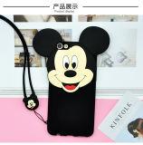 iPhone7携帯電話のシェルのApple 6s Mickey Minnieの携帯電話の保護Mickeyの耳のシリコーンの柔らかい箱の漫画