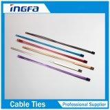 Tipo ataduras de cables de acero del bloqueo de la bola de la escala con la capa de epoxy