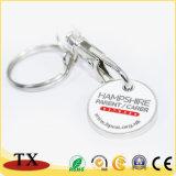 Kundenspezifische Metalllaufkatze-Münzen-Halter-Schlüsselkette für Förderung-Geschenk