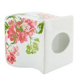 Productos de cerámica caseros de las guarniciones del cuarto de baño con la impresión de la etiqueta