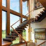 Escaleras de cristal de la viga doble con la pisada de madera