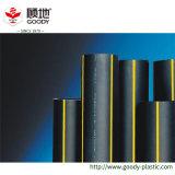 Norma ISO Di plastica del tubo di gas del combustibile dell'HDPE della striscia di colore giallo del PE