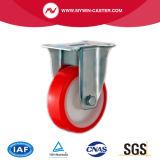 4 Zoll rote PU-Rad-Fußrollen-örtlich festgelegte Platte
