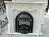Mensola del camino/camino di marmo bianchi di pietra naturali con la scultura di angelo del bambino