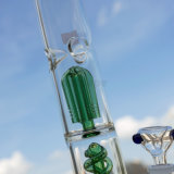 Conduites d'eau de fumage 46mm en verre chaud de hauteur de Hv-036 avec un faisceau intérieur spiralé vert