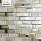 Mosaico marrone chiaro di cristallo di colore solido di Foshan di figura della striscia della decorazione della parete