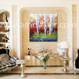 多彩な木の景色のナイフの油絵の重い組織上の効果