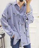 2018新しく熱いしまのある動物によって印刷されるポロの女性ワイシャツ