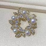 Brooch bianco d'acqua dolce di Pin del Rhinestone della perla di alta qualità per la cerimonia nuziale