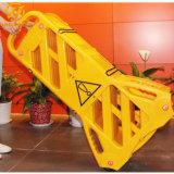Amarelo Barreira de tráfego de plástico dobráveis e expansível de controlo de multidões empurrador de barreira