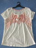 ふさ様式の女性の粗紡糸のジャージーの刺繍が付いている短い袖のワイシャツ
