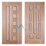 HDF MDFシートが付いている一流のチークのベニヤ型のドアの皮
