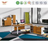 L形の木の執行部の机(H90-0105)