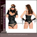 Plusgrößefaux-Leder-reizvolle Dame Club Wear Catsuit (9189)
