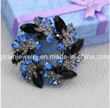 Ofrenda floral tono negro pavimentada de zafiro azul de cristal de aleación de zinc Rhinestone Broche antiguo broche chapado en plata y joyas de moda regalos Brooch joyas (PBr-036)