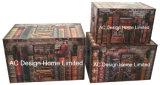 S/3 de Decoratieve Antieke Uitstekende Kleurrijke Doos van de Boomstam van de Opslag van de Druk Pu Leather/MDF van het Ontwerp Rechthoekige Houten