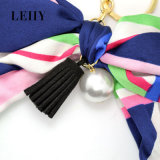 5 do Tassel de seda do couro do preto da pérola do Bowknot da fita das cores correntes chaves