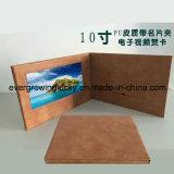 Design personnalisé en cuir 10.1pouces Vidéo Brochure