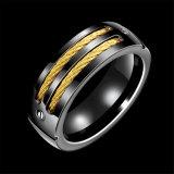 Ring van het Roestvrij staal van het Ontwerp van Nobel de Zwarte Kanon Geplateerde voor Mensen