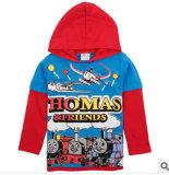 La dernière 2014 Le printemps et automne hiver garçons imprimé Cartoon Thomas le phoque à capuchon Coton T-Shirt à manches longues