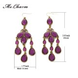 Brincos de gota roxos do Tassel do Rhinestone da gota para a galeria Earings longo da jóia da forma das mulheres