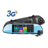 """C08 7 """"タッチ画面のDashcam車の二重後ろのカメラ車DVR 3G人間の特徴をもつGPSのダッシュカムSIMカード"""