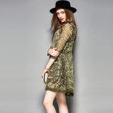 Vestido de seda impreso de manga larga ropa casual delgado vestido de mujer