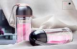 Garrafa de água desportiva com copo de vidro dupla sem chumbo portátil