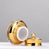 vaso cosmetico acrilico di plastica a forma di della parte superiore di lusso dell'oro di 15g 30g 50g