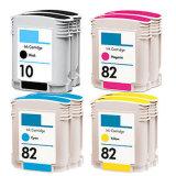 Compaitble bon marché pour la cartouche d'encre de couleur d'imprimante de HP #10 #82