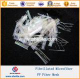 Fibra fibrillada de fibra de microfibra PP para la construcción