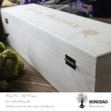 Rectángulo de empaquetado de madera de encargo de la botella de vino de Hongdao con la tapa con bisagras Wholesale_C
