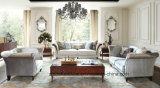 Sofá superior europeu com moldura de madeira maciça / sofá clássico real