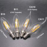 Der LED-Heizfaden-Kerze-4W E14 B22 LED Kerze-Kugel Bajonett-des Klipp-LED für Leuchter