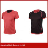 Camisas de T unisex da planície redonda por atacado da garganta (R37)