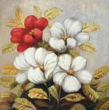 예쁜 가정 장식적인 손으로 그리는 꽃 유화