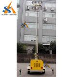 torre 4X1000W clara móvel com o mastro telescópico pneumático de 9m