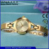 ODMのステンレス鋼の方法水晶女性腕時計(Wy-010D)