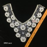 38*36cm 화려한 꽃 레이스 목 고리 꿰매는 복장 블라우스 백색 손질 성인에 의하여 수를 놓는 Hme917