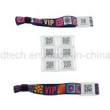 La materia textil impresa personaliza el bloqueo de la diapositiva un Wristband tejido tela del uso RFID del tiempo