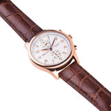 Relógio de forma genuíno de quartzo do Wristband da cinta de couro de caixa de aço inoxidável para homens