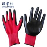 13Gポリエステル赤いはさみ金の黒のニトリルのやし上塗を施してある手袋