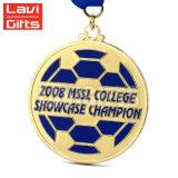 Mini médaillons ultra Shaped bon marché de médaille en métal de sport de récompense de bille de trophée du football de la coutume 3D avec la bande