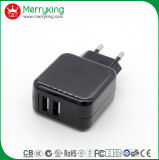 Hot vender Ce BS BS GS 5V 2A Multipuerto USB Adaptador de CA de 2 viajes para enchufe europeo