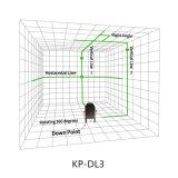 3 linhas cruzam a linha nível giratório do laser do verde