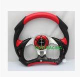 13inchレースカーのハンドルの革PVCユニバーサル赤
