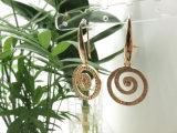 魚ホックのめっきされる実質の金が付いている銅の白いダイヤモンドのジルコンの石のイヤリング