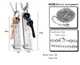 [هيغقوليتي] [ستينلسّ ستيل] مربع شكل عالقة زوج عقد مدلّاة مع أسود و [روس] نوع ذهب مفتاح