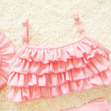 Trois ensembles maillot de bain Costume Girls Baby Princess Rose feuille de lotus Baby Bikini multicouche