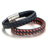 Armband van uitstekende kwaliteit van het Roestvrij staal van de Armband van de Kleur van de Armband van het Leer van de Mensen van Juwelen de Dubbele (BL2878)